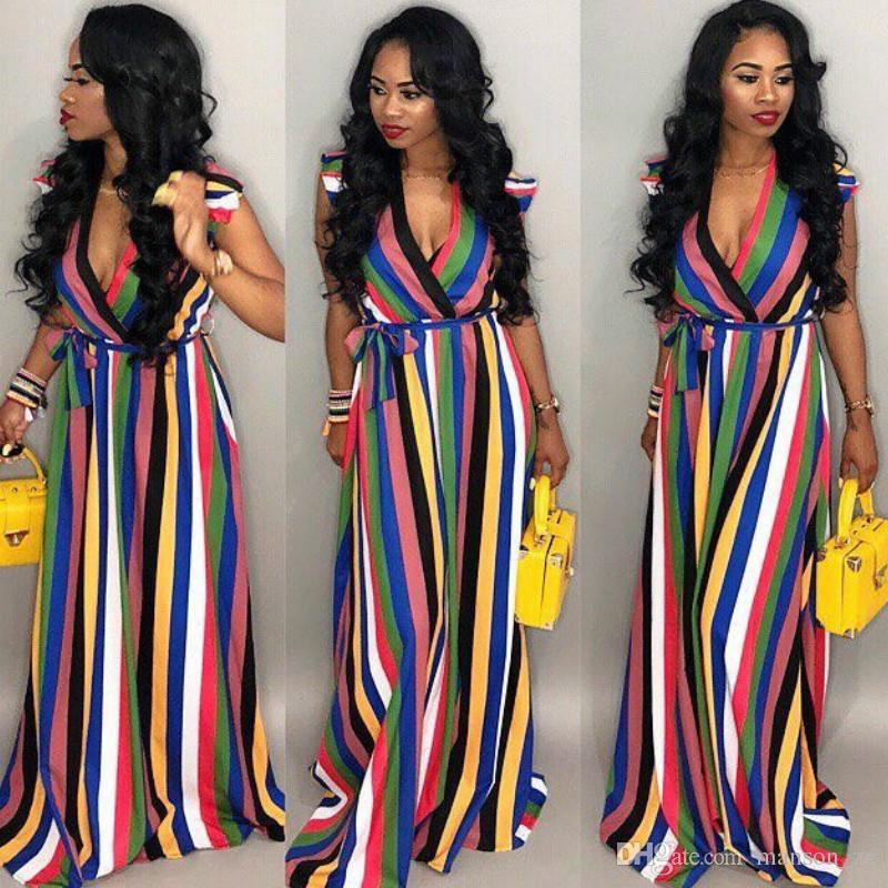 d03234bce Summer New Bohemian Rainbow Vertical Stripes Print Maxi Dress Sexy Deep V  Neck Vestidos Party Long Dress Ruffle Sleeveless Belt Bodycon Dres Cotton  Dresses ...
