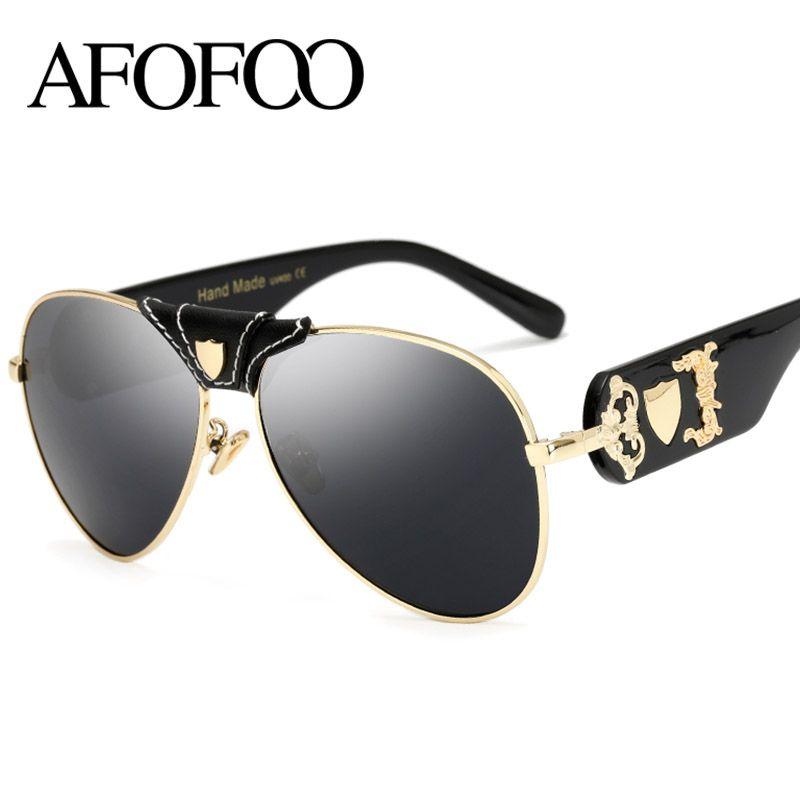 bdb16c5276 AFOFOO New Fashion Sunglasses Metal Leather Decoration Frame Luxury Brand  Designer Women Mirror Sun Glasses Men UV400 Shades Designer Shades Fashion  Shades ...