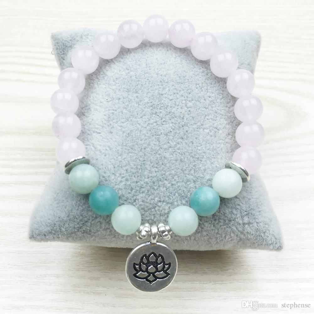 SN1031 Trendy Lotus Women`s Pulsera Nature Stone Jewelry Aquamarine Pulsera de calidad superior Rose Quartz Yoga Jewelry Healing Bracelet