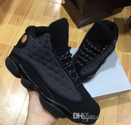 cheaper 5eac5 f4be3 New mens 13 OG Black Cat Basketball Shoes All Black 13s Trainers Sneakers  For Sale Size 8-12