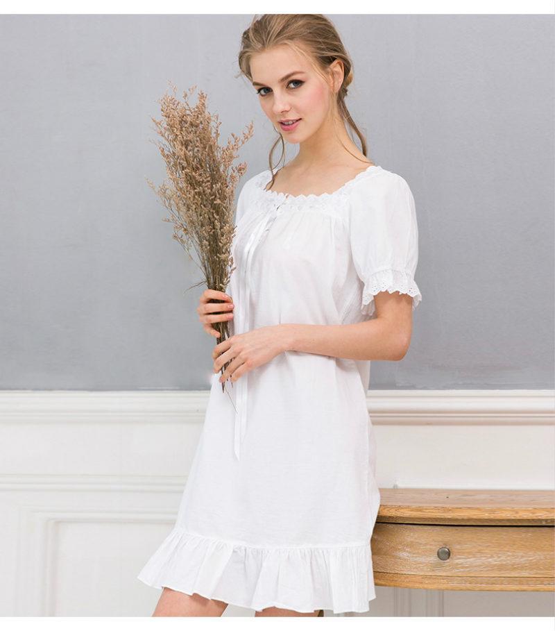 2018 Vintage White Nightgown Vestido Branco White Cotton Nightgown ...