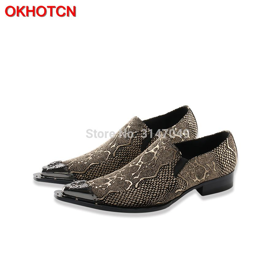 2018 New Genuine Leather Men Oxford Shoes Casual Business Men Pointed Shoes Brand Wedding Dress Boat Imitate Snake