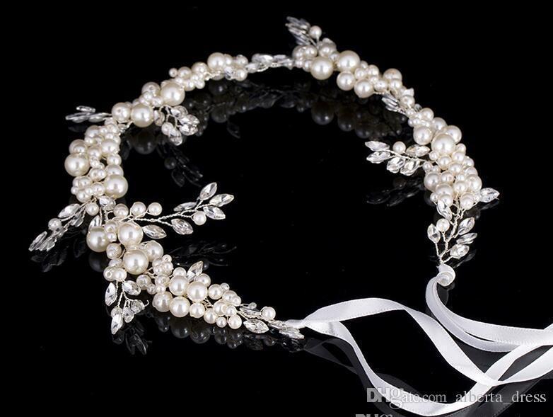 2020 Mode Argent Perle De Mariée Cheveux De Vigne Bijoux Main De Mariage Bandeau Accessoires Cristal Femmes Pas Cher Bandeau