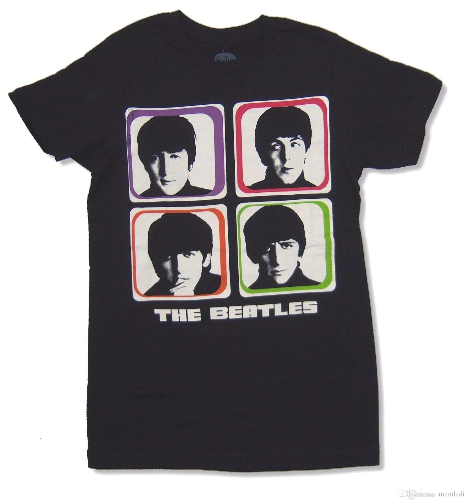 "THE BEATLES ""COLOR BLOCKS"" BLACK BAND T-SHIRT NEW OFFICIAL ADULT"