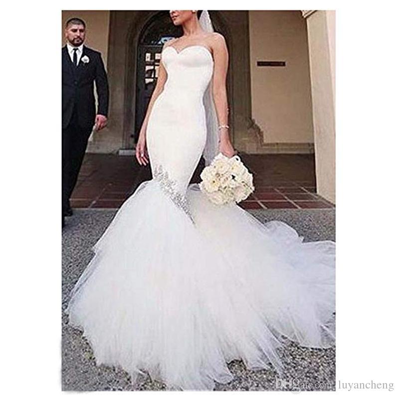 Robes De Mariée Sexy Chérie Moulantes Pour La Mariée Perlée Strass Blanc Sirène Robes De Mariée Avec Puffy Tulle Train