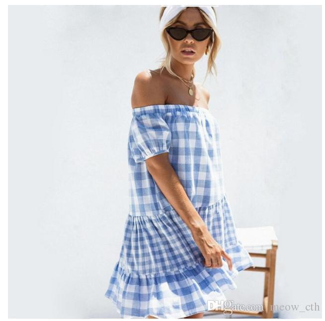 2018 new summer lotus leaf edge leisure loose women dress bubble short sleeved beach Skirt Blue lattices sexy shoulder dress