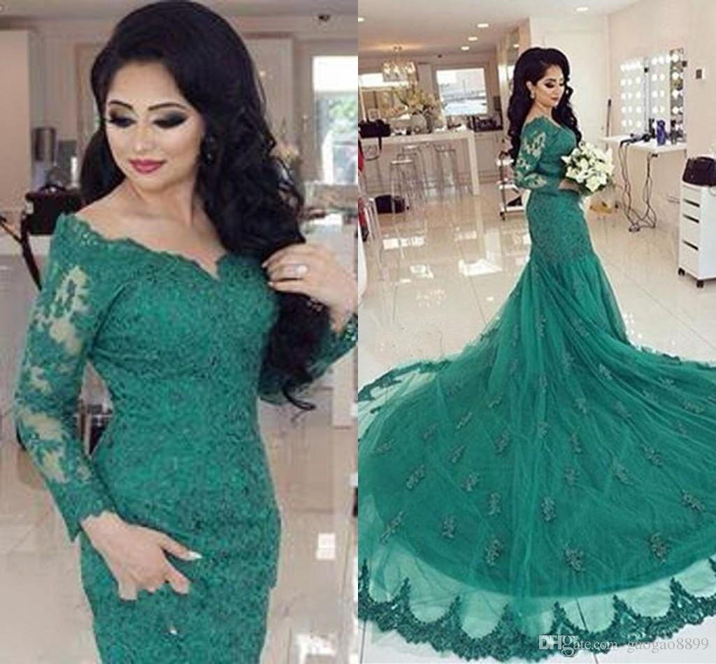 Arabic Emerald Green Lace Prom Dresses Long Sleeves With Appliques Court Train Abendkleid Mermaid Dubai Evening Dresses Party Wear