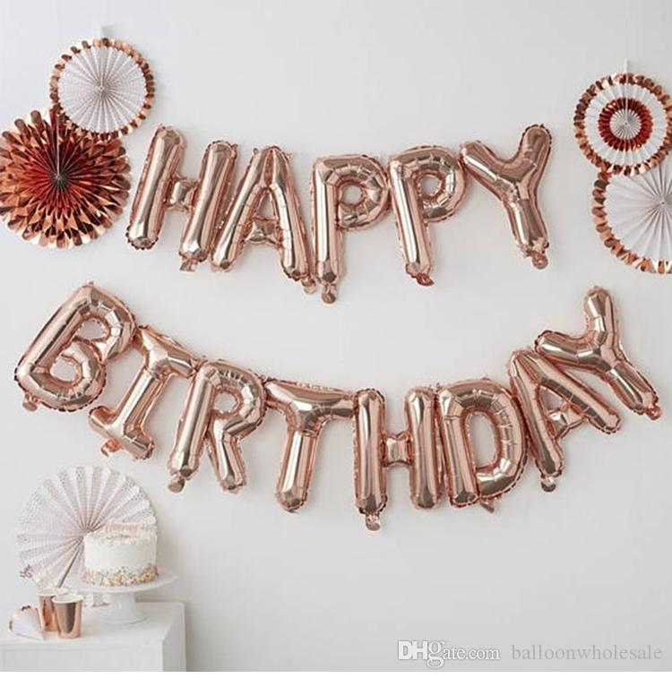 16 Inch Rose Gold Happy Birthday Letter Foil Balloons Adult Baby Party Decor Supplies Alphabet Air Banner Helium Big