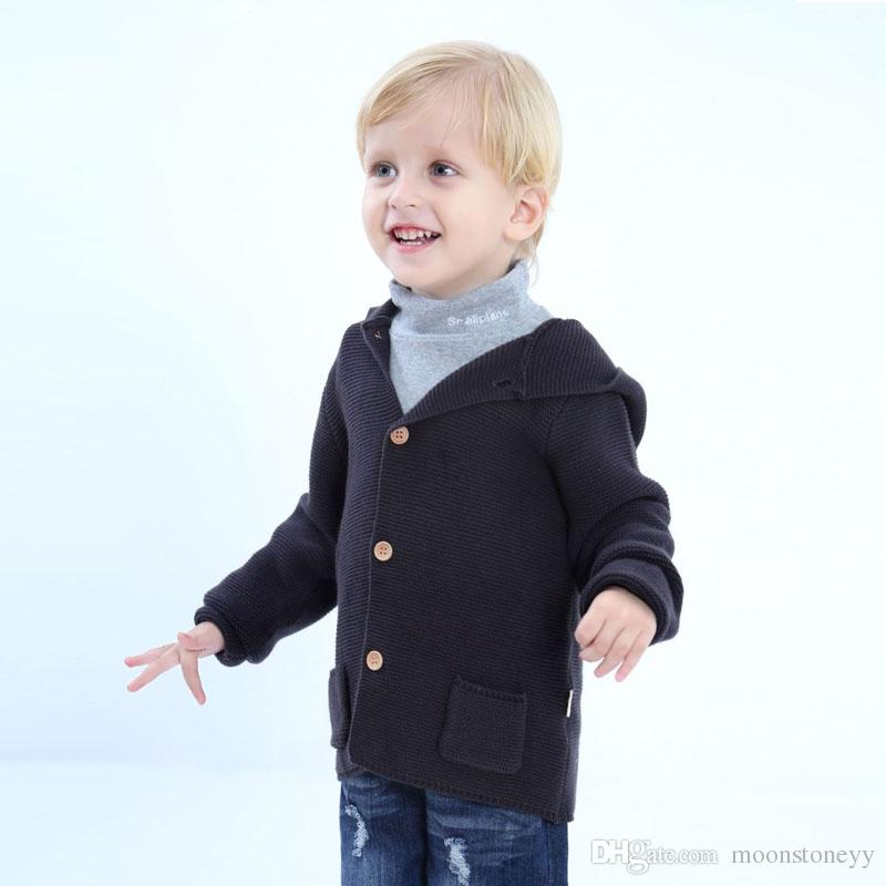 9a4848c31 Boys Cardigan Fashion Hooded Knitted Sweater Kids Casual Spring ...