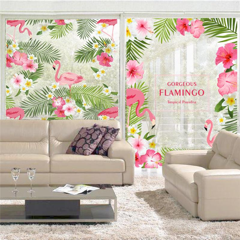 9042ba03f Lower Window Stickers Romantic Garden Gorgeous Flamingo Flower Window  Sticker Decal Bedroom Living Room Wall Art Home Decor Poster Mural .