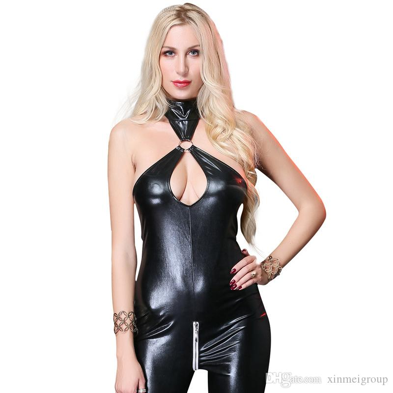 fc9e638d3326 2019 Women PVC Synthetic Leather Bodysuit Sexy Black Sleeveless Backless  With Zipper Catsuit PU Wet Look Jumpsuit W926768 From Xinmeigroup
