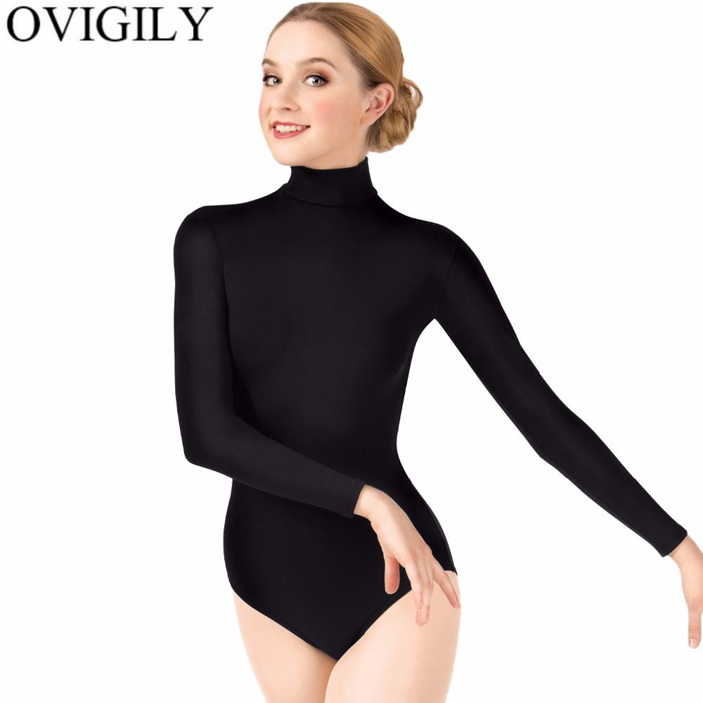 066fb9a993 2019 OVIGILY Womens Turtleneck Leotard For Ballet Dance Adults Black Long  Sleeves Gymnastics Leotards Bodysuits Teaching Class Tops From Beenling