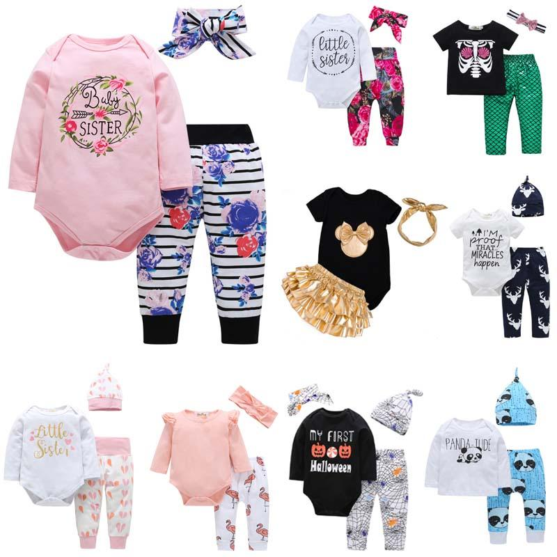 07a2982b8d0 2019 25 Styles Newborn Baby Boy Girls Clothes Christmas Hollowen Outfit Kids  Boy Girls Set Romper+ Pant + Hat Baby Kids Clothing Sets From Ivytrade1125