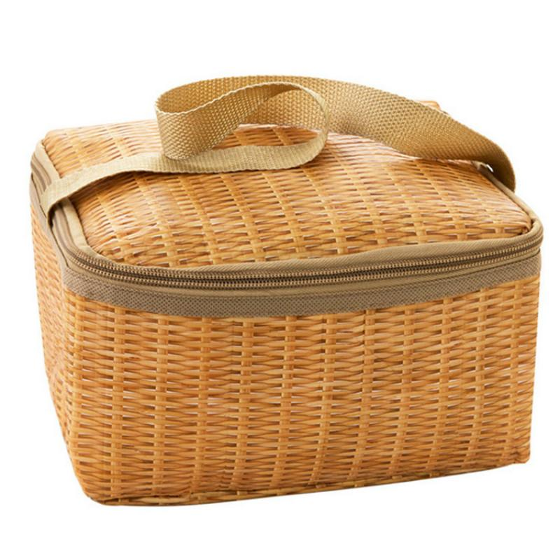 Imitation rattan lunch bag picnic bag Thick insulation student business waterproof Fresh lunch box