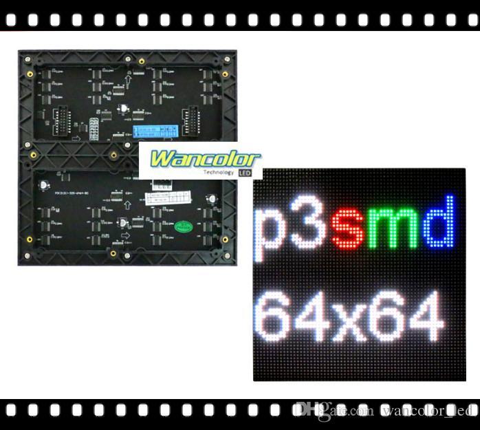 Frete grátis DIY interior LEVOU exibição de vídeo P3 interior Cor Led Módulo 192 * 192mm + RGB led controlador + fonte de alimentação