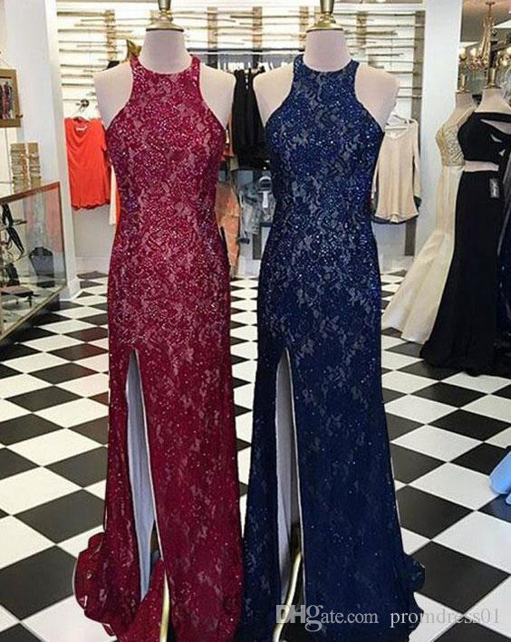Hot Selling High Neck Split Side Lace Burgundy/Navy Blue Prom Dresses Evening Dresses for Women In Stock