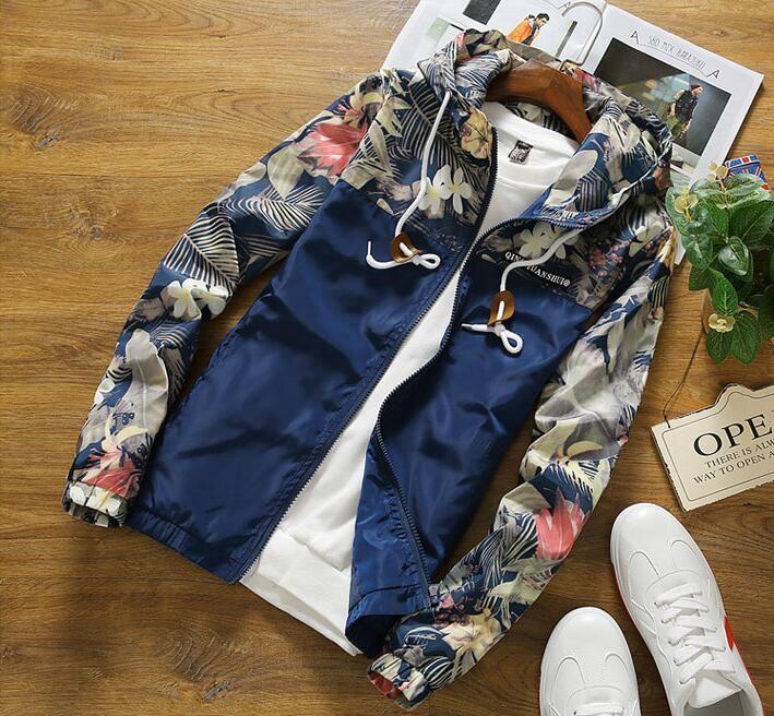 Moda Çiçek Bombacı Ceket Erkekler Hip Hop Slim Fit Çiçekler Pilot Bombacı Ceket Kaban erkek Kapşonlu Ceketler Artı Boyutu 4XL