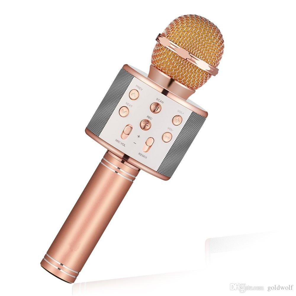 New WS858 Bluetooth wireless Microphone HIFI Speaker Condenser Magic Karaoke Player MIC Speaker Record Music For Iphone Android