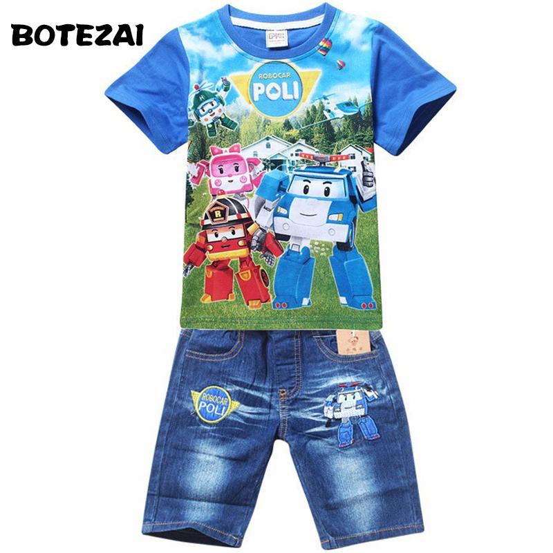 661ebd9f1dc9 2019 2017 Summer POLI ROBOCAR Children Boys Clothing Sets Baby Kids Suits  Shirt Jeans Shorts Pants Cotton Cartoon Clothes Set Y1893004 From  Shenping01