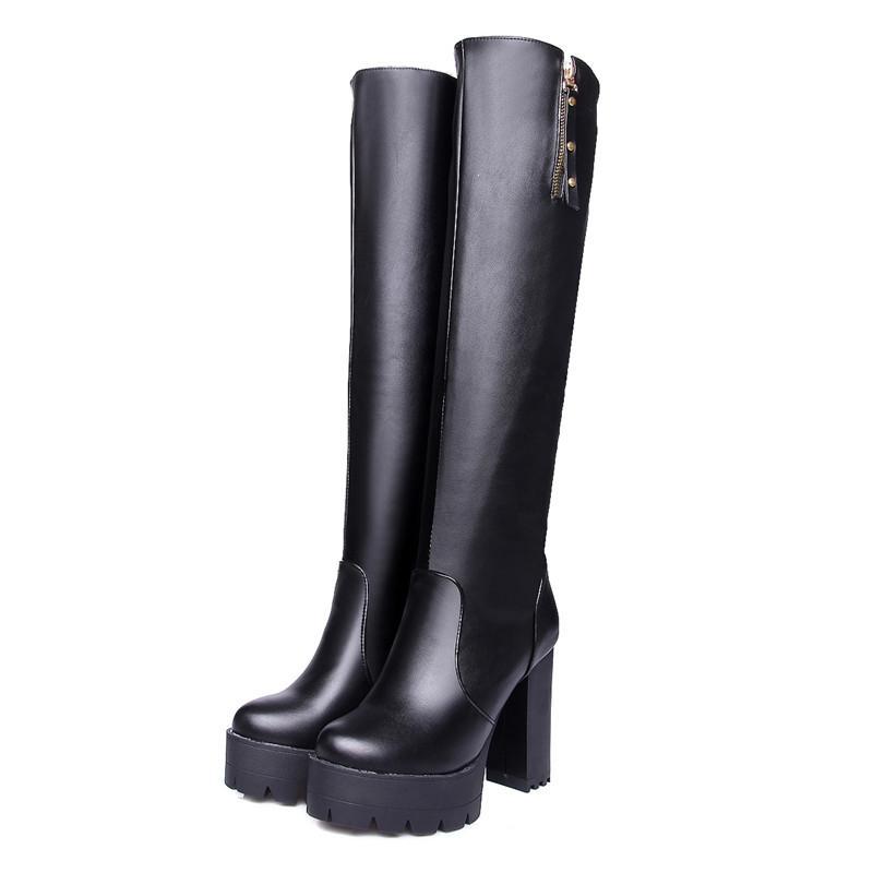 c31e9aeb7c7 Compre Tamaño 34 43 Mujeres Slip On Rodilla Botas Altas Zapatos De  Plataforma Con Cremallera Para Dama Talla Grande Cuero De PU Vestido Para  Mujer Zapatos ...