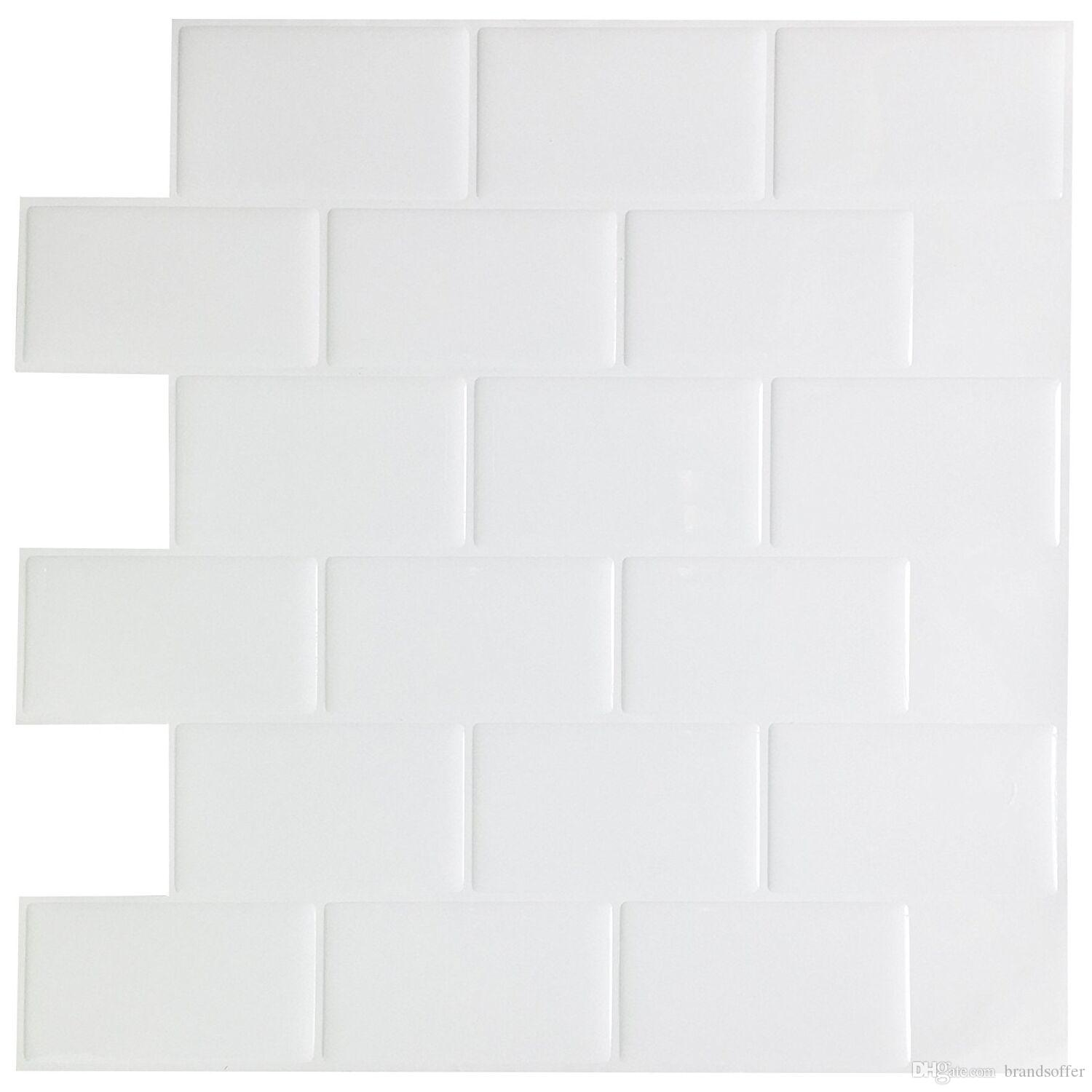 White Subway Back Splash Tile Peel And Stick Self Adhesive Wall ...