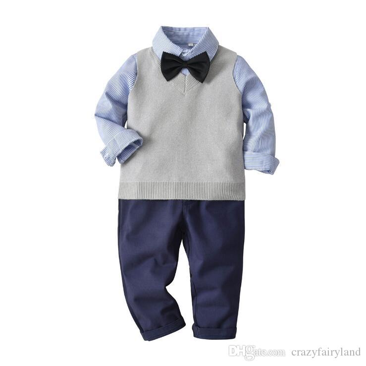 c0871531f 2019 Baby Boys Vest Suit Outfits Sets Spring Fall Boys Long Sleeve ...