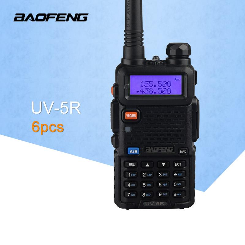 (6 PCS) Baofeng UV5R Ham Two Way Radio walkie talkie Transceptor de doble banda (Negro)