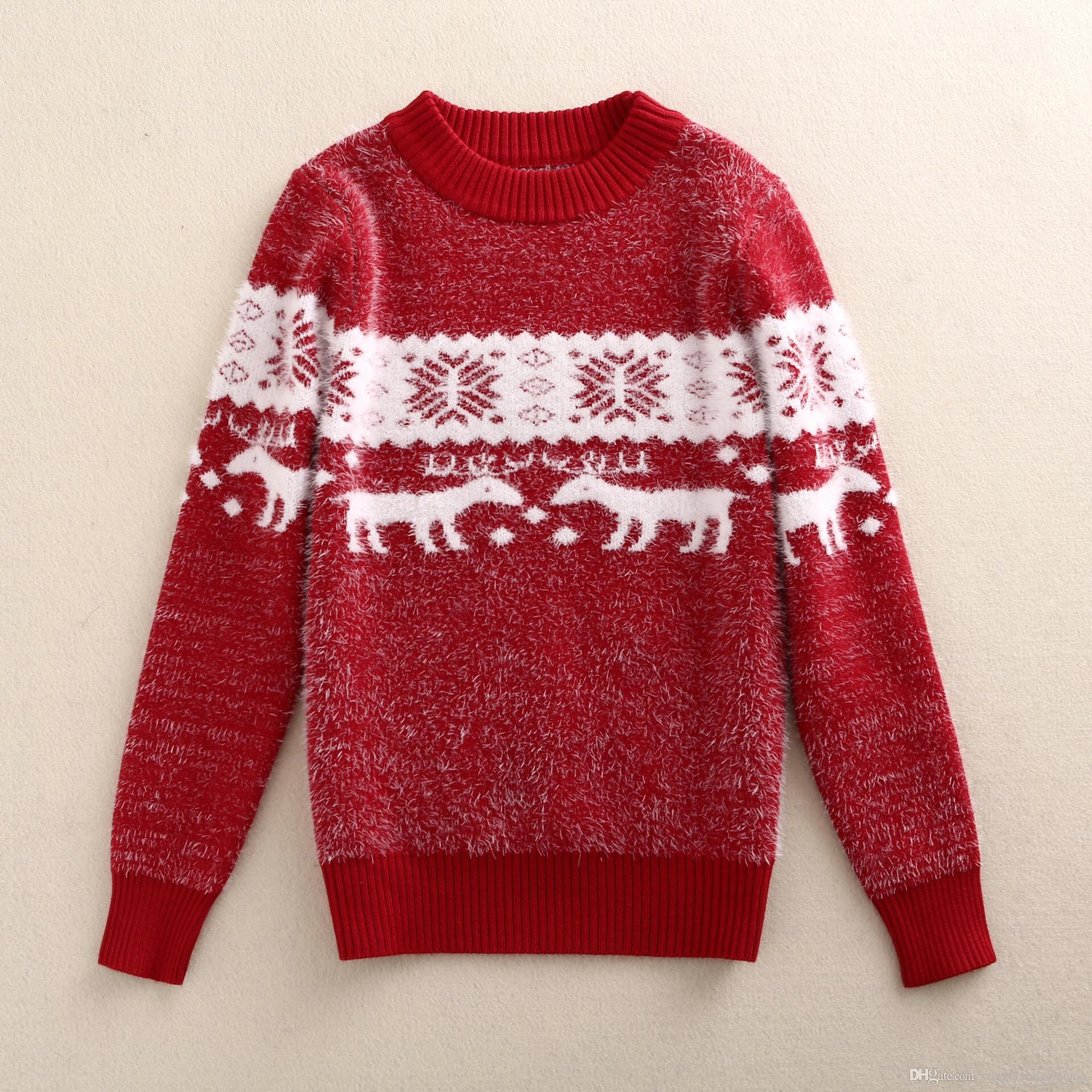 3 8 Year Old Girls Christmas Snow Red Winter Wool Fleece Ullovers ...