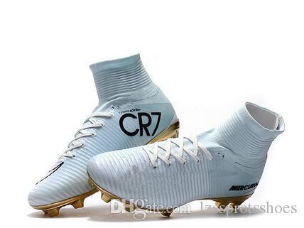 3e007ed0b9 Compre Chuteiras De Futebol De Ouro Branco CR7 Mercurial Superfly FG V  Chuteiras De Futebol De Criança Cristiano Ronaldo De Lzssprotsshoes