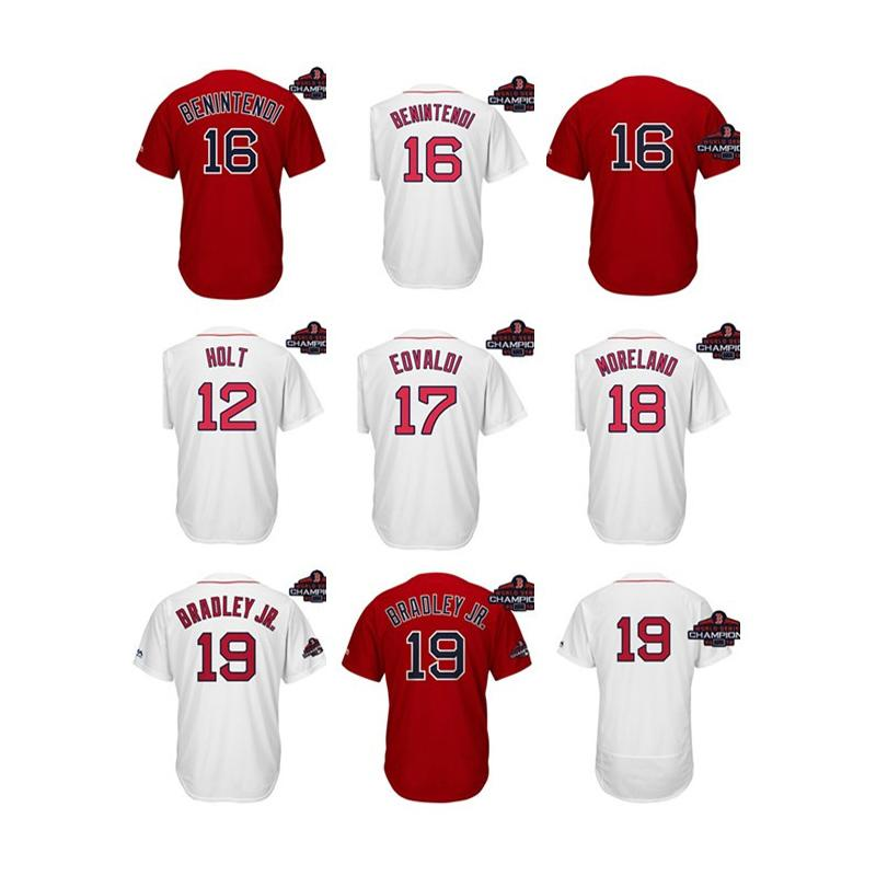 the best attitude e8c0a 723d4 Men Boston Red Sox World Series Champions Patch Brock Holt Andrew  Benintendi Nathan Eovaldi Mitch Moreland Jackie Bradley Jr Baseball Jersey
