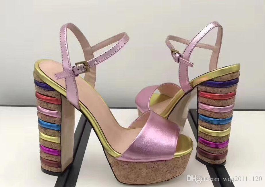 2018Novo estilo europeu clássico sapatos femininos, sandálias, sandálias, couro fazendo impermeabilização e mais seleção de cor para o calcanhar áspero