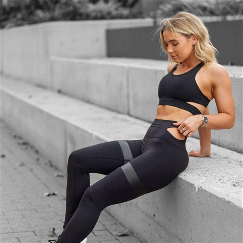 여자 요가 피트 니스 스포츠 세트 체육관 운동 스포츠웨어 2 개 세트 Tracksuits 브래지어 요가 정장 전체 길이 legging