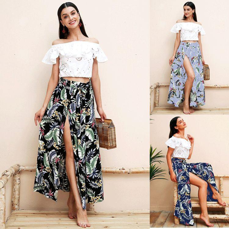 65102b321abc6c 2019 Floral Printed Long Skirts Women Split Maxi Skirt Leaf Print Beach  Bohemian Dress Female Chic Boho 2018 New Summer Holiday High Waist Skirt  From ...