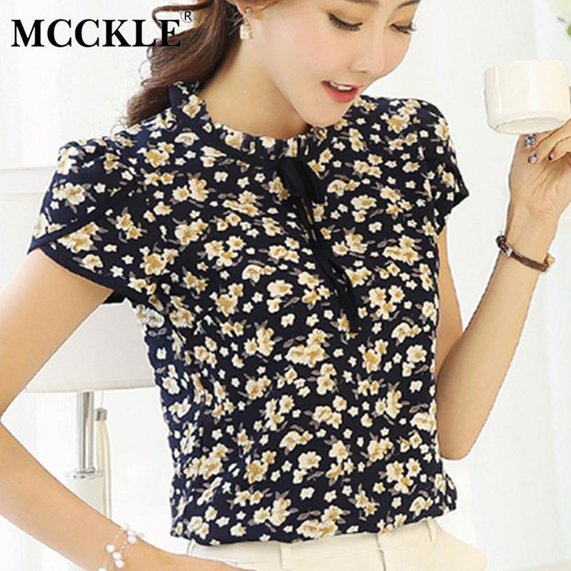 95db3b5bd17 2019 MCCKLE Women Plus Size Floral Print Bow Neck Blouse Ruffled Collar  Summer Chiffon Shirt Petal Short Sleeve Chiffon Tops Blouse From Vanilla01