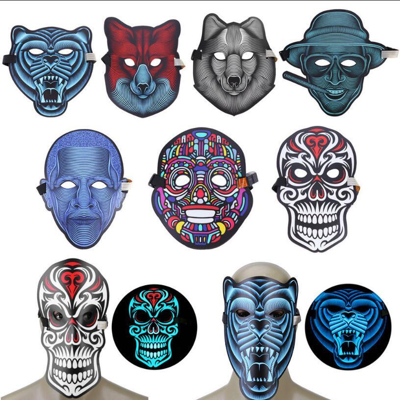 LED EL Cold Light Mask Voice Control Masquerade Party Luminous Glowing Face Mask Halloween Cosplay Costume Props OOA5706