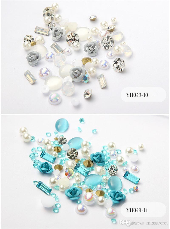 새로운 3D 장미 꽃 네일 아트 장식 DIY 디자인 빛나는 다이아몬드 펄 네일 아트 용품 12 개 색상