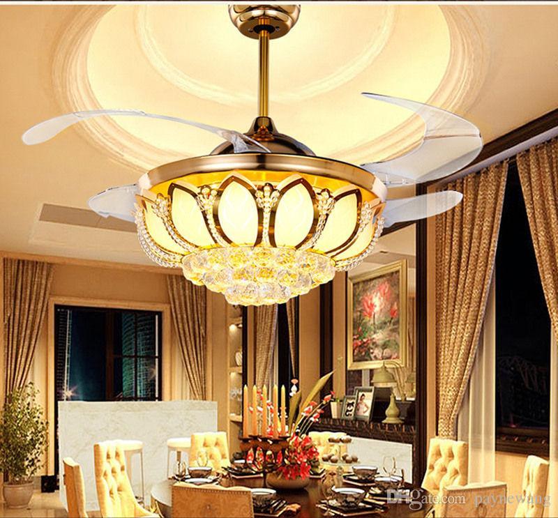 Modern 42 inç stealth blade süper sessiz fan ışık kristal restoran tavan fanı lambası Vogue kablosuz uzaktan kumanda fanı lambası