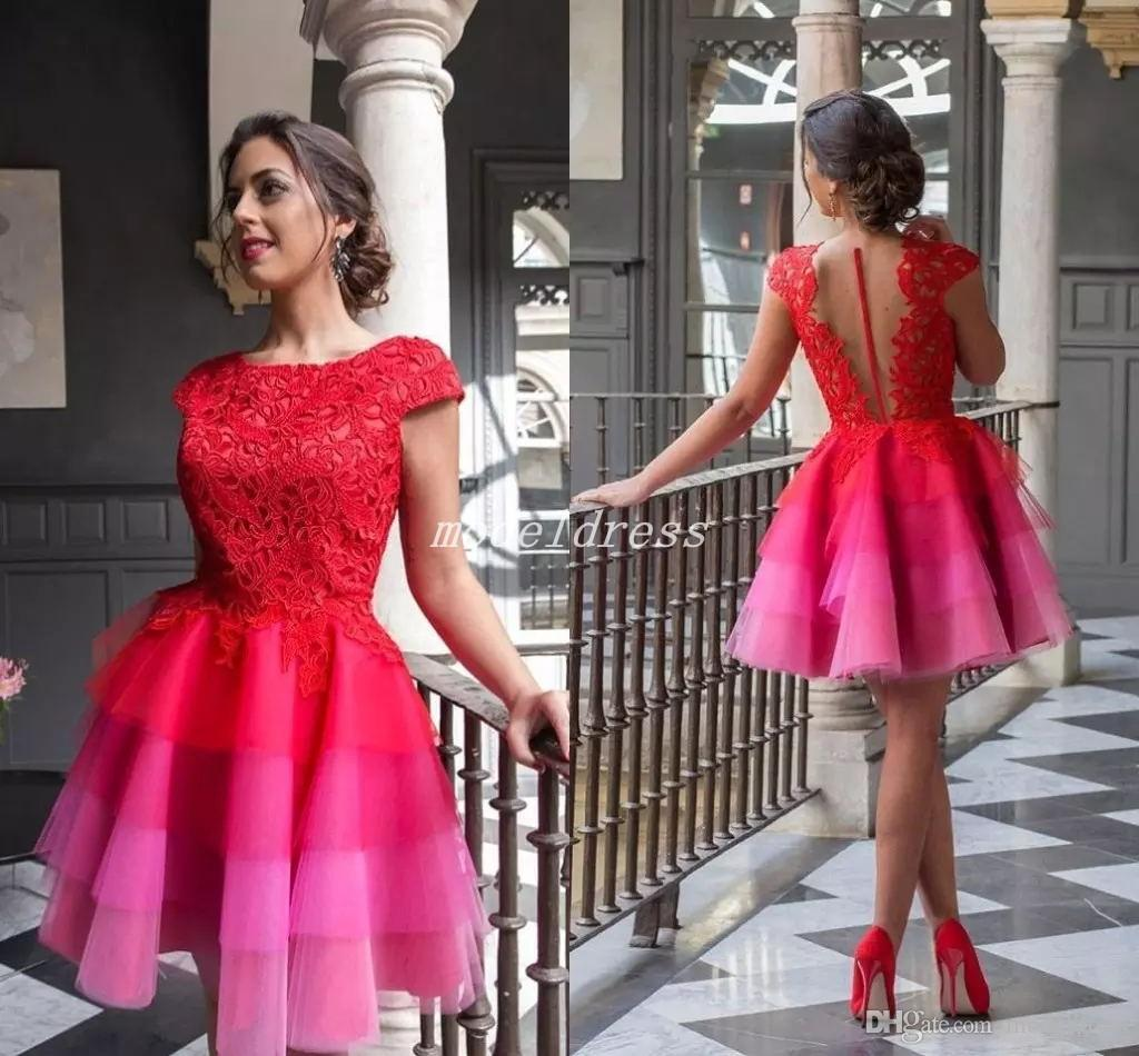 fd17ca4fb55 2018 Gradient Red Homecoming Dresses Jewel Cap Sleeve Short Illusion Bodice  Lace Top Mini Formal Prom Gowns Cocktail Party Dress Arabic Long Dresses  For ...