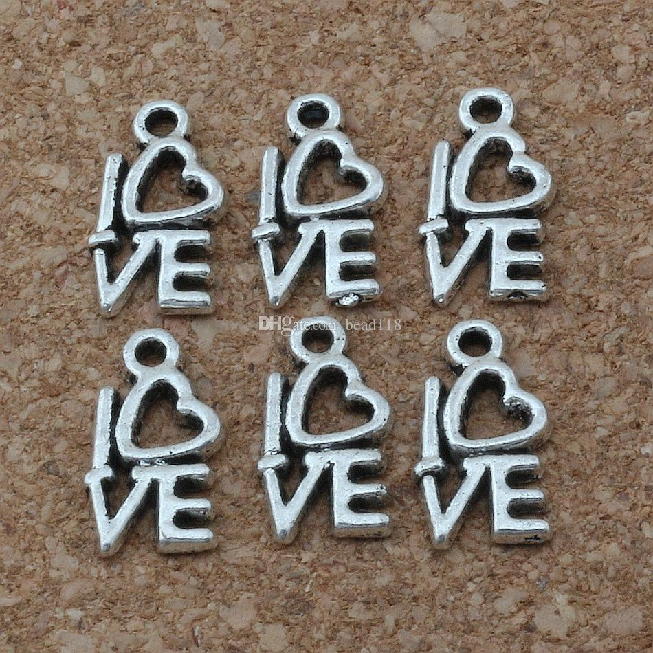 amour Charms Pendentifs / Vente chaude Antique Silver Jewelry DIY 8 x14mm A-170