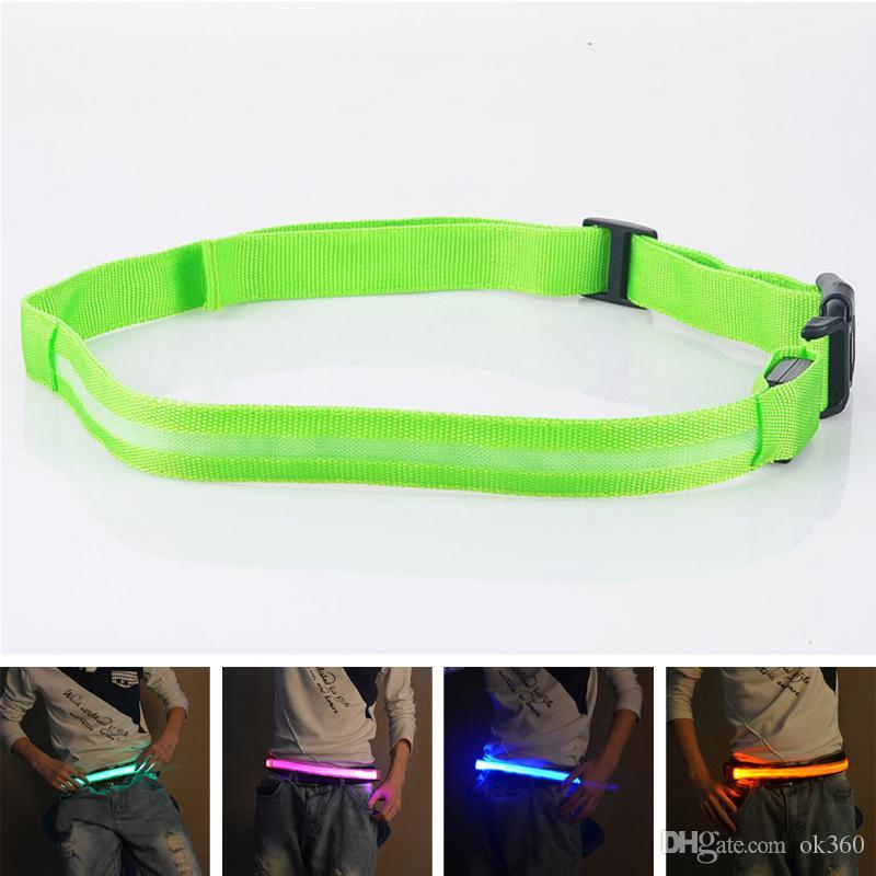 LED Cinturones Unisex Luminosos LED Cinturón de Luz Intermitente 40-100 CM Cinturón de Nylon Cinturón Reflectante de Seguridad Bicicleta Correr Correr Banda de Cintura