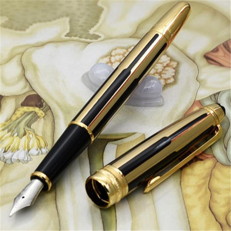 De haute qualité tout neuf rayures noires et or roller stylo à bille / stylos à bille luxe stylo plume en gros cadeau livraison gratuite