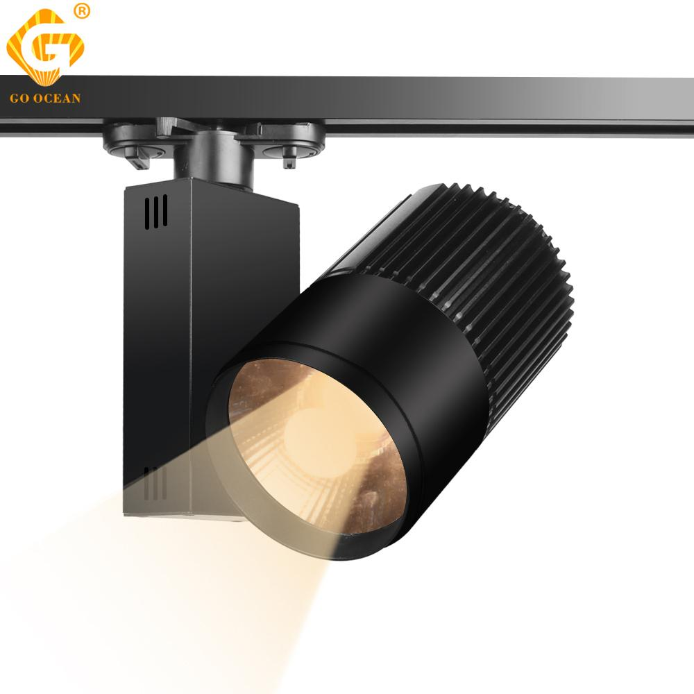 2019 track light led 40w cob rail spot lamp shoe clothes store shop lighting rails aluminum showroom spotlight light fixture 2 3 4 wire 3 phase from