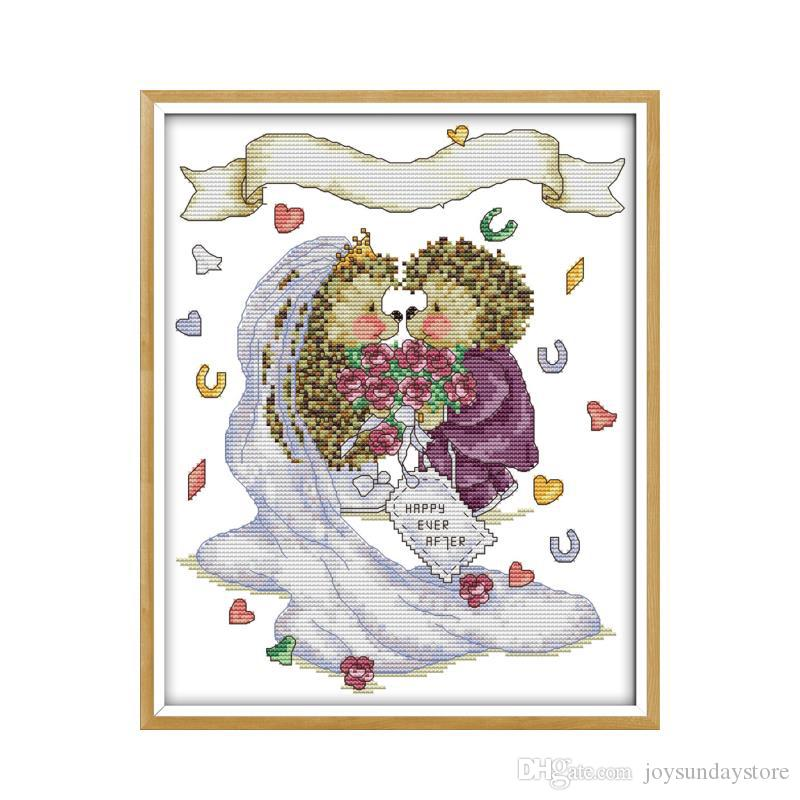 The Hedgehog's Wedding Patterns Counted Cross Stitch Kit DIY Hand Interesting Cross Stitch Wedding Patterns