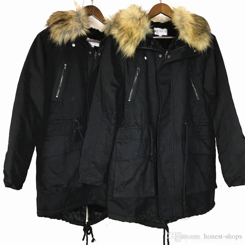 a352eff473e Men s Winter Warm Parka Jacket Coat Faux Fur Lined Long Hooded ...