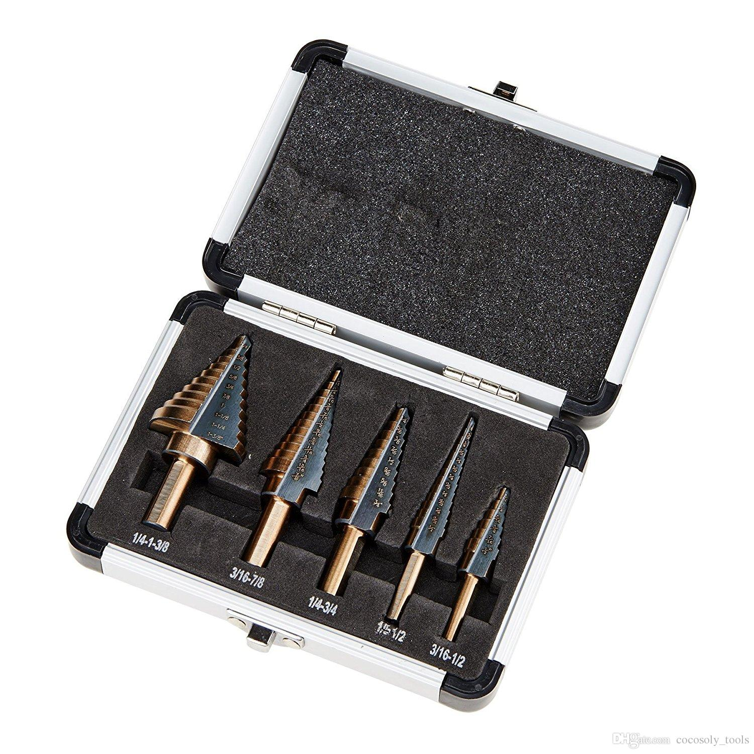 Hss Cobalt Multiple Hole 50 Sizes Step Drill Bit Set with Aluminum Case