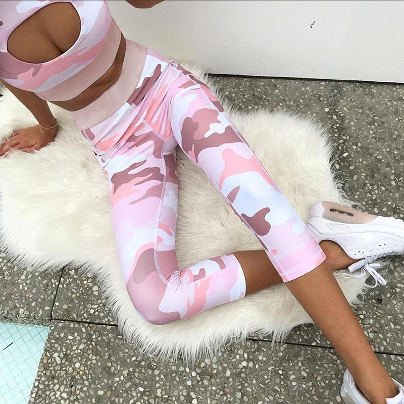 25a866691a1bfc 2019 Women Pink Camouflage Yoga Set Sportswear Gym Running Front Hole  Clothes Tracksuit Sexy Fitness Sport Tank Top Cropped Leggings From Stem,  ...