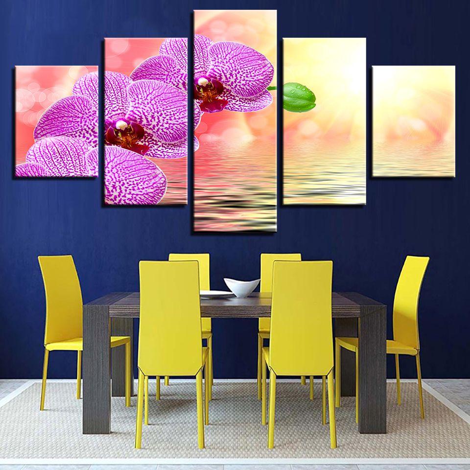2018 Wall Art Framework Canvas Hd Print Painting Pink Moth Orchid ...