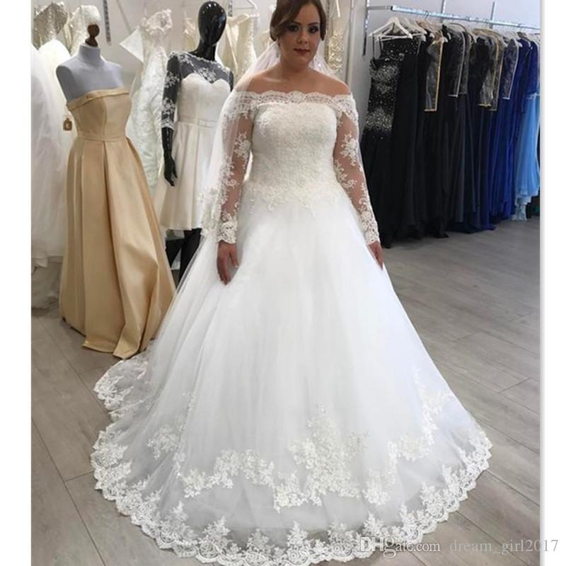 discount 2018 plus size wedding dresses off shoulder long sleeve