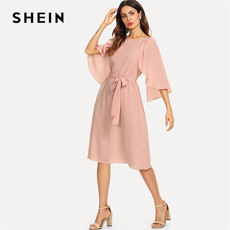 69d2b0b7539 20187 SHEIN Pink Elegant Cloak Sleeve Self Belted Knot Front Round Neck  Natural Waist Knee Length Dress Summer Women Casual Dresses High Quality  Dresses ...