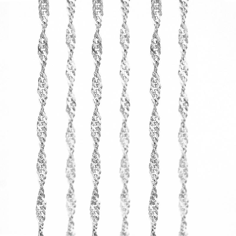 100% Stainless Steel 2 4mm Water-Wave Chain Necklace Women Silver Color  Singapore Twisted Curb Necklace Jewelry Wholesale 50pcs
